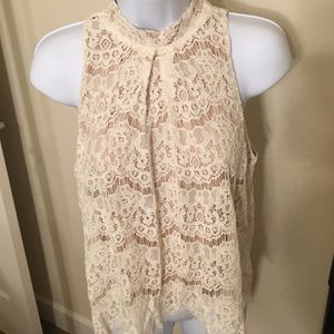 Beautiful tan/lace halter blouse
